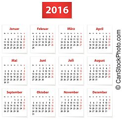 2016 German Calendar - Calendar for 2016 year in German on...
