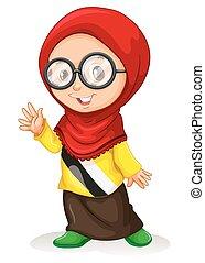 Girl in muslim attire illustration