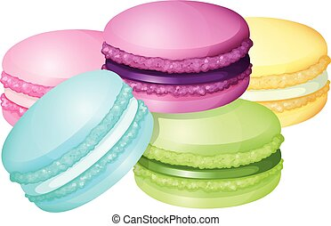 Colorful macaron on white illustration