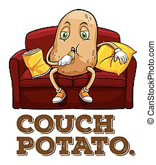 Potato sitting on couch illustration