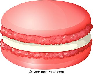 Red color macaron alone illustration