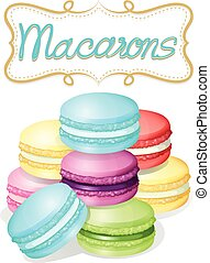 Poster of different flavours macarons illustration