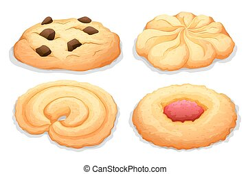 Four different flavours cookies illustration