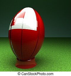 Tonga rugby - Rugby ball with Tonga flag over green grass...