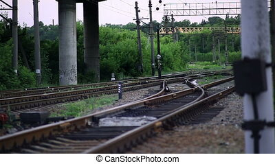 The Railroad Tracks with Pillars. Translation Focus