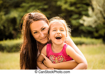 Mother and child outdoor portrait