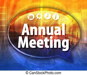 termo, negócio, reunião, anual, Ilustração, fala, bolha
