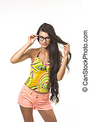 Pretty lady is touching her glasses. - Charming girl is...