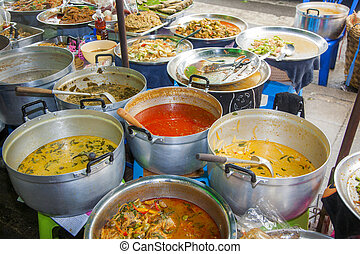 delicious chinese food at the night market in Chinatown,...