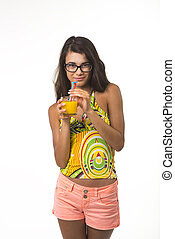 Pretty lady with glass of orange juice. - Charming girl is...