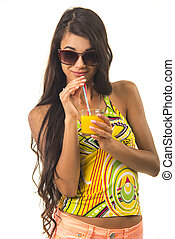Nice lady is holding a glass in her arm. - Charming girl is...
