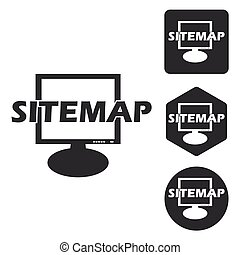 Sitemap icon set, monochrome, isolated on white