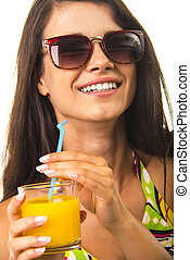 Nice lady in sun glasses closeup. - Charming girl is holding...