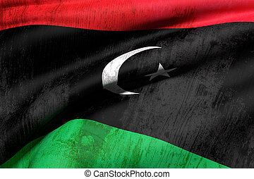 Libya flag - 3d rendering of an od and dirty Libya flag...