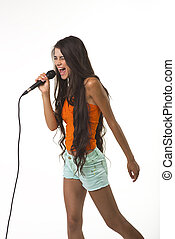 Mischievous lady in orange shirt with microphone. - The...