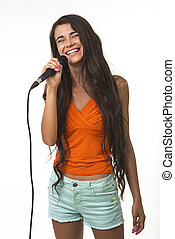 Pretty lady with the microphone. - Charming girl is singing...
