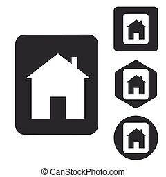House plate icon set, monochrome, isolated on white