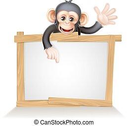 Chimp Sign - Cute cartoon chimp monkey like character mascot...