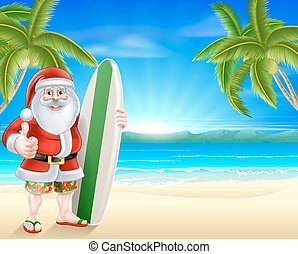 Tropical beach Santa - Cartoon Santa holding a surfboard and...