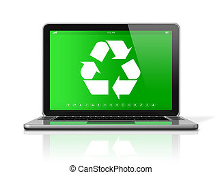 Laptop with a recycling symbol on screen. environmental conservation concept
