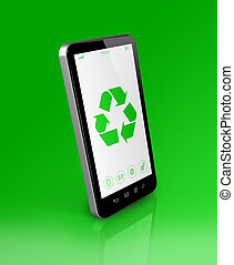Smartphone with a recycling symbol on screen. ecological concept