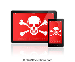 Digital tablet PC and smartphone with a pirate symbol on...