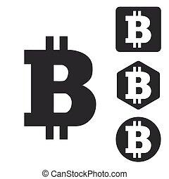 Bitcoin icon set, monochrome