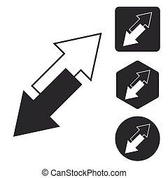 Opposite arrows icon set, monochrome, isolated on white