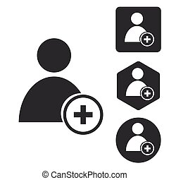 Add user icon set, monochrome, isolated on white
