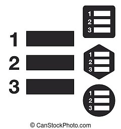 Numbered list icon set, monochrome, isolated on white