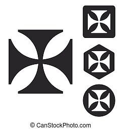 Maltese cross icon set, monochrome, isolated on white