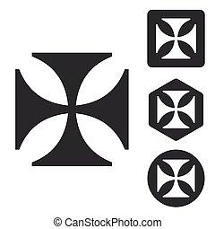 Maltese cross icon set, monochrome, isolated on white
