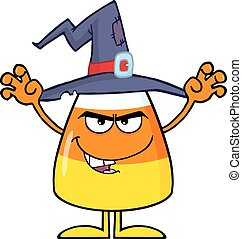 Scaring Halloween Candy Corn With A Witch Hat