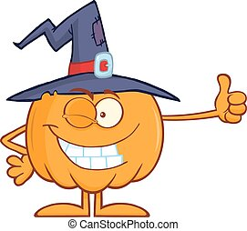 Winking Witch Pumpkin Character
