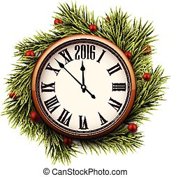 Happy 2016 year. Vintage clock.