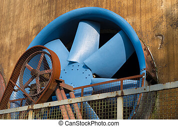 blue ventilator at the Landschaftspark Duisburg-Nord, a...