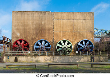 colorful ventilators - ventilator building at the...