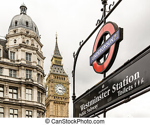 London Underground Sign and Big Ben - Famous London...