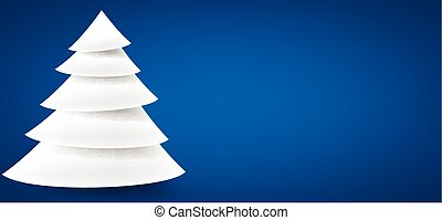 Paper christmas tree over blue. - White paper christmas tree...