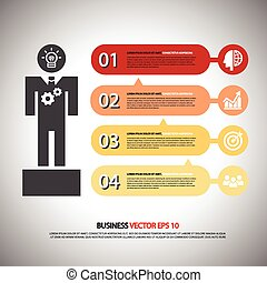 infographic Template with businessman.4step or processes