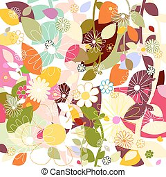 leaf and flowers pattern