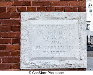 Baptist Tabernacle 1910 Cornerstone - Cornerstone from 1910...