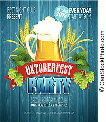 Oktoberfest Background with Beer. Poster template. Vector...