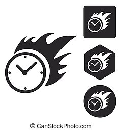 Burning clock icon set, monochrome, isolated on white