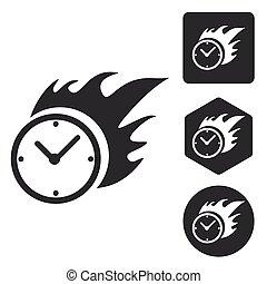 Burning clock icon set, monochrome, isolated on white