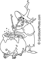 outlined witch brew.eps - Outlined witch preparing a potion....