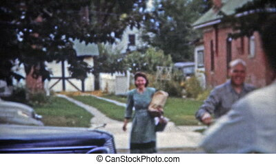 1953: Proud new mom and dad coming - Unique vintage 8mm film...