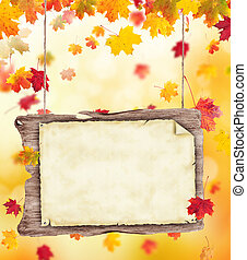autumn blank wooden poster - autumn background with blank...