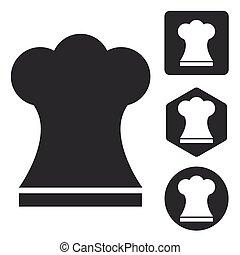 Chef hat icon set, monochrome
