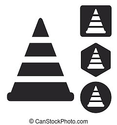 Traffic cone icon set, monochrome, isolated on white